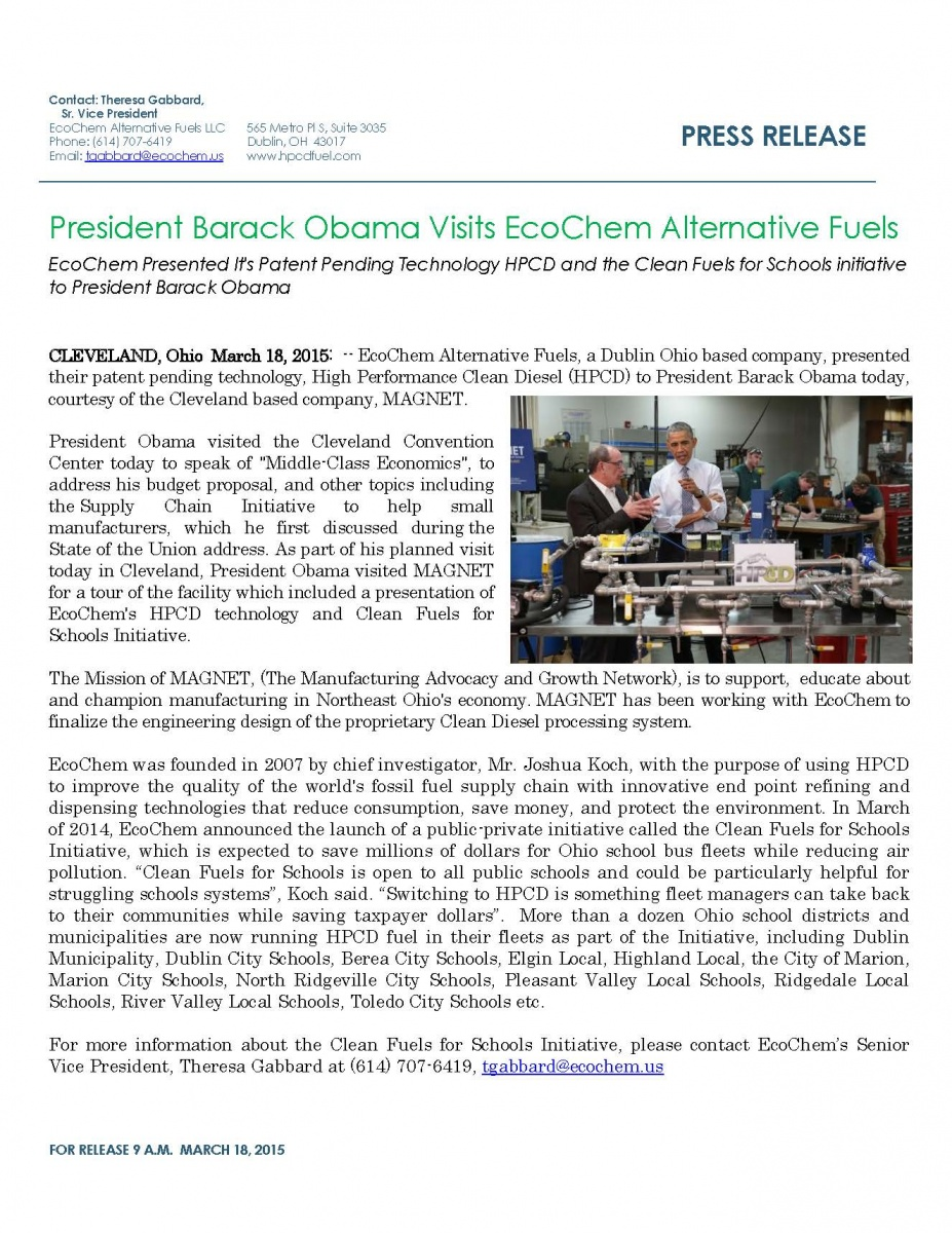 President Obama Learns about High Performance Clean Dieselᵀᴹ (HPCD) during Ohio Visit in Mach 2015